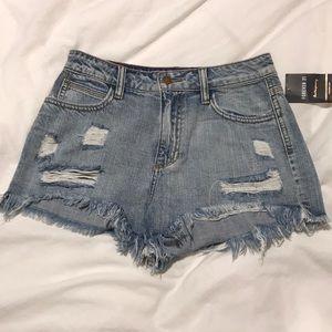 F21 Distressed denim shorts